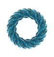 christmas wreath blue isolated fir branch circlet vector image