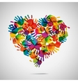 Colored heart from hand print icons vector image vector image