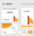 company calender and diary design with n logo vector image vector image