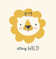 cute lion with crown hand drawn vector image vector image