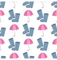 cute multi colored umbrella rubber boots in flat vector image vector image