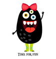 cute print with funny girl monster vector image