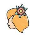 cute profile woman avatar flower vector image vector image
