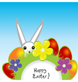 Easter card with bunny and eggs vector image vector image