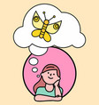 female thinking about butterfly character vector image vector image