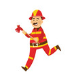 fireman in protection uniform with axe vector image vector image