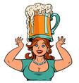funny woman with a mug beer vector image vector image