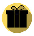 gift box sign flat black icon with flat vector image vector image