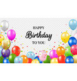 happy birthday card with balloons transparent vector image vector image