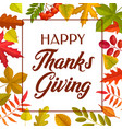 happy thanks giving greeting card autumn leaves vector image vector image