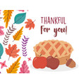 happy thanksgiving day delicious cake apple and vector image vector image