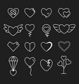 heart outline white color set vector image vector image