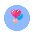 heart shaped air balloons icon on blue round vector image