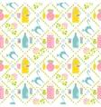 Milk seamless pattern Jar and cat vector image