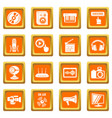 multimedia internet icons set orange square vector image vector image
