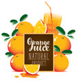 orange juice banner with oranges and blackboard vector image vector image