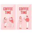 people colleague coffee time advertising flyer set vector image
