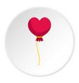 pink heart balloon icon circle vector image vector image