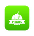 pirate bomb icon green vector image