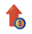 price hike in seal with arrow up infographic vector image vector image