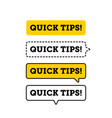 quick tips helpful tricks logo icon or symbol set vector image vector image