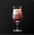 realistic cocktail irish coffee glass vector image
