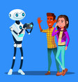 robot takes pictures of young happy couple man and vector image vector image