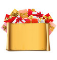 scroll with gifts vector image vector image