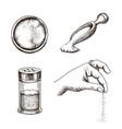 sea salt hand drawn set salt spice packaging vector image vector image