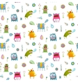 seamless pattern cartoon monster background vector image vector image