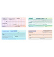 set isolated bank checkbanking cheque vector image