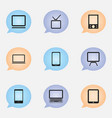 set of 9 editable devices icons includes symbols vector image vector image