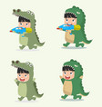 set of cartoon little kid characters in animal vector image vector image