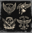 Set vintage biker motorcycle emblems on dark