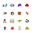 sports equipment icons set cartoon vector image vector image