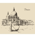 Streets Venice Italy with Gondola Vintage Engraved vector image vector image