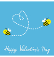 Two flying bees Dash heart Valentines Day vector image