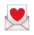 Valentine romantic envelopes with heart draw vector image