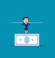 woman balancing on banknote concept business vector image vector image