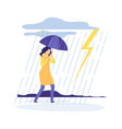 woman rainy day bad weather girl with umbrella vector image vector image