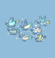 world of birds five color print for kids vector image vector image