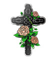 cross with roses vector image