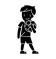 boy with ball icon sign o vector image