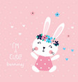 with cute rabbit girl vector image
