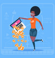 african american girl hold laptop with thumb up vector image vector image