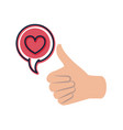 approval hands with heart isolated icon vector image