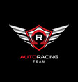 auto racing winged logo sign symbol icon vector image