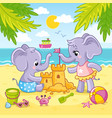 baby elephants are playing in sand vector image