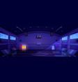 basketball court empty dark interior stadium vector image