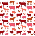 Beautiful farm animals seamless pattern in color vector image